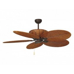 Patio un ventilateur de plafond tropical colonial de 132 Cm corps en acier marron vieilli et osier tresse marron.