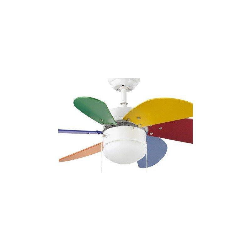 Le palao est un petit ventilateur efficace silencieux et quip d 39 un point lumineux ideal pour - Ventilateur plafond enfant ...