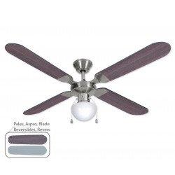 Ventilateur de plafond moderne 130 cm vengé/gris et moteur chrome OWANDOLIGHT