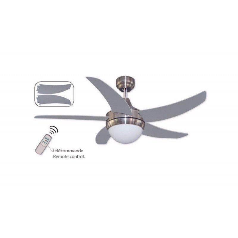 Ventilateur de plafond moderne 132 cm chrome et pales argentées, telelcommande et lumiere Elica Rc 5L LBA HOME